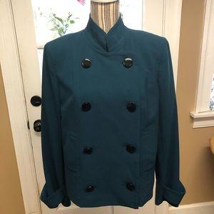 Jones New York teal peacoat style blazer